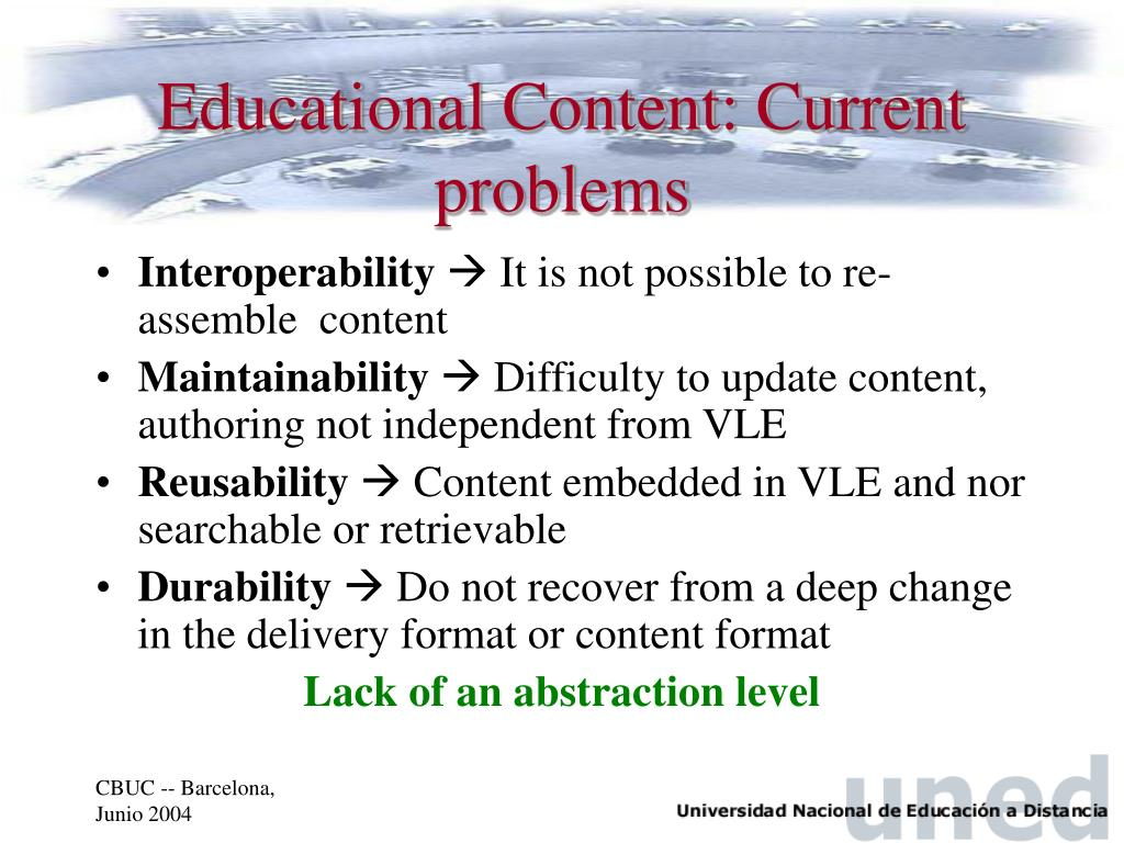 Educational Content: Current problems
