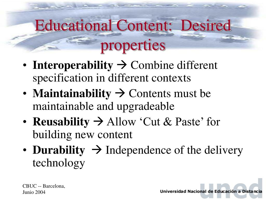 Educational Content:  Desired properties