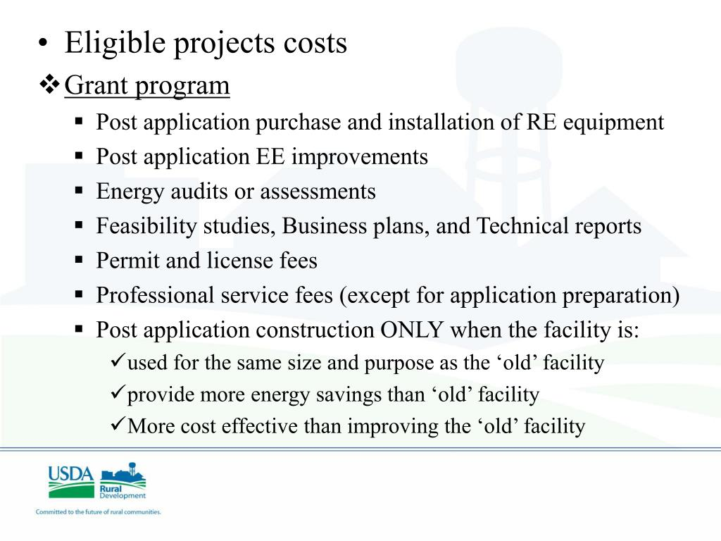 Eligible projects costs