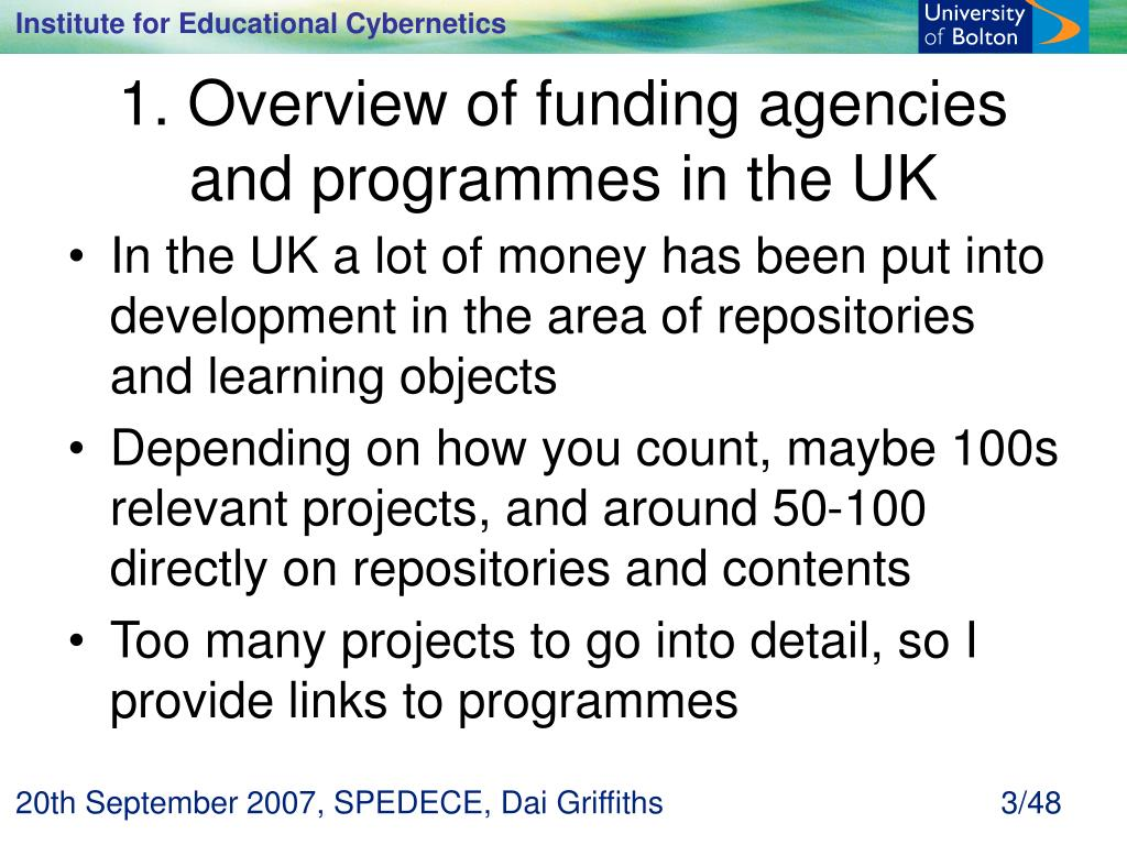 1. Overview of funding agencies and programmes in the UK