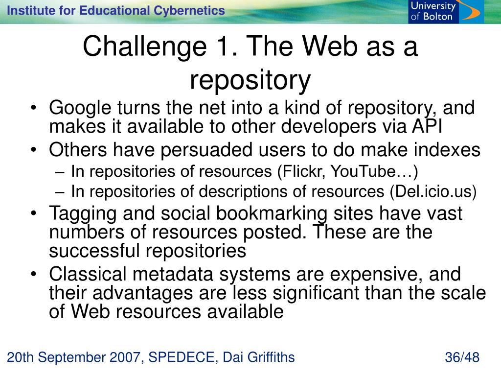 Challenge 1. The Web as a repository