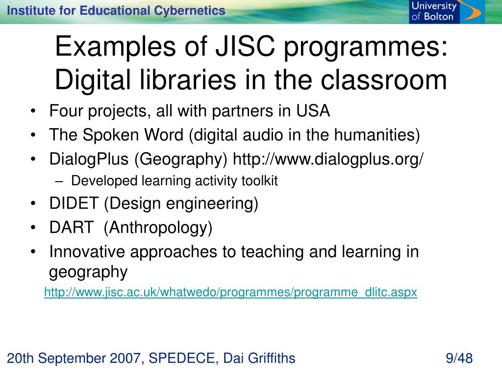 Examples of JISC programmes: Digital libraries in the classroom