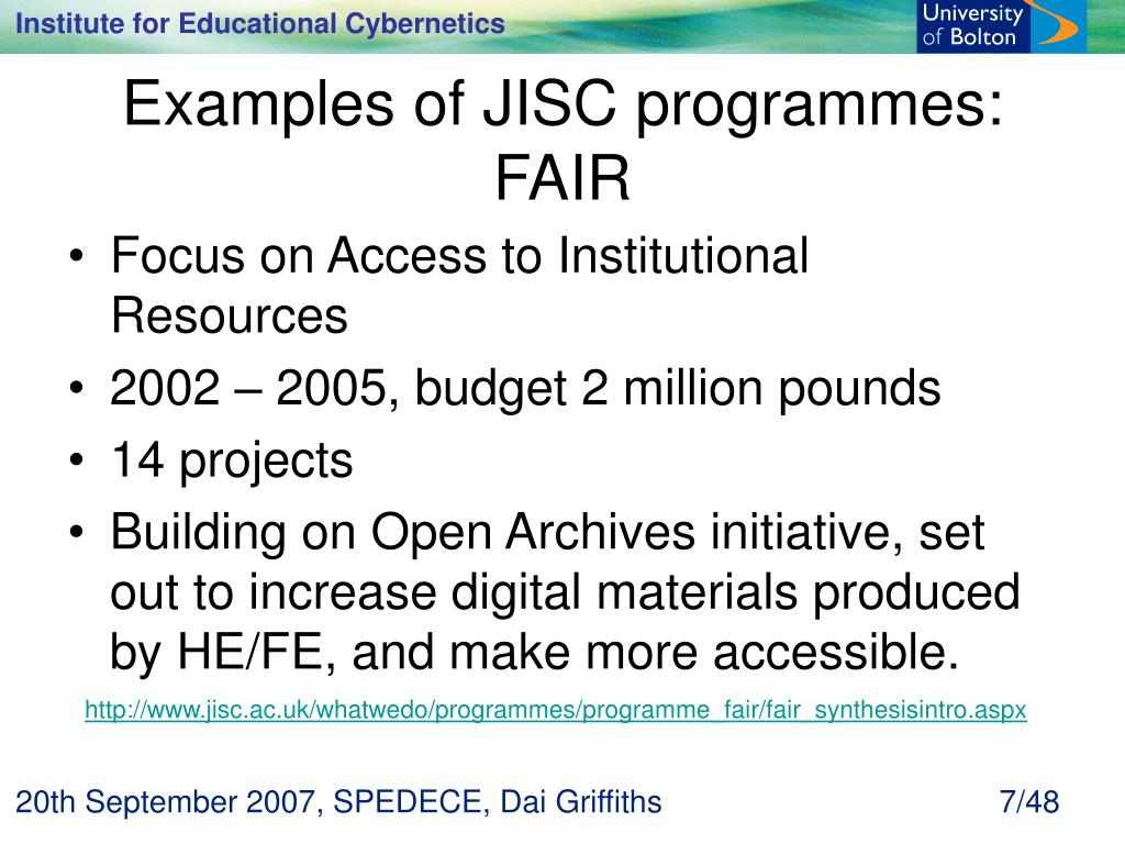 Examples of JISC programmes: FAIR
