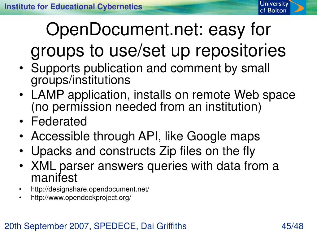 OpenDocument.net: easy for groups to use/set up repositories