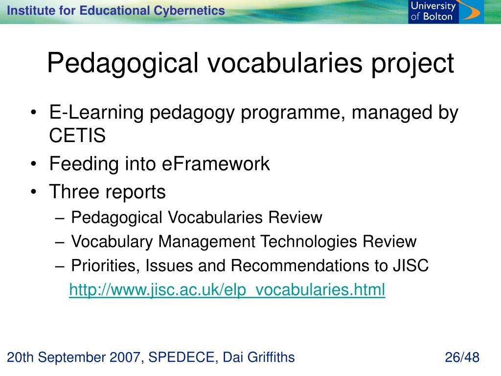 Pedagogical vocabularies project