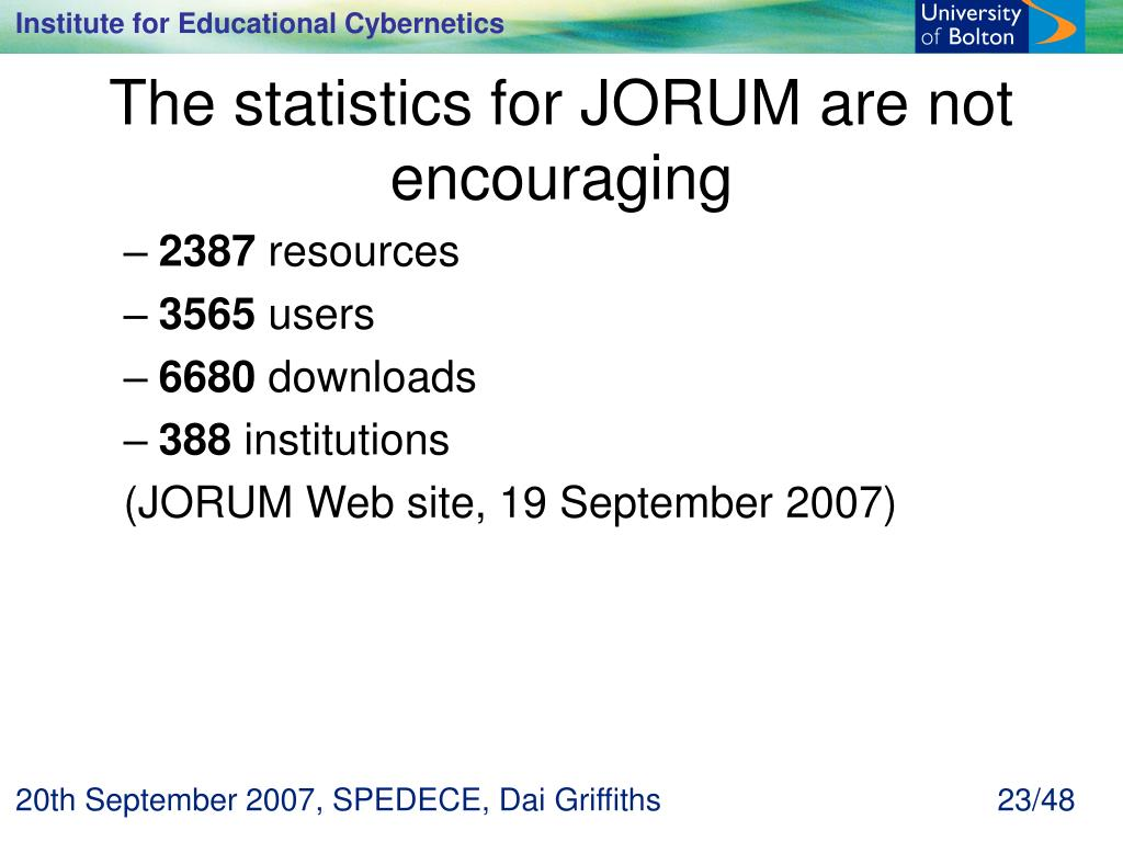 The statistics for JORUM are not encouraging