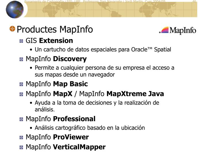 Productes MapInfo
