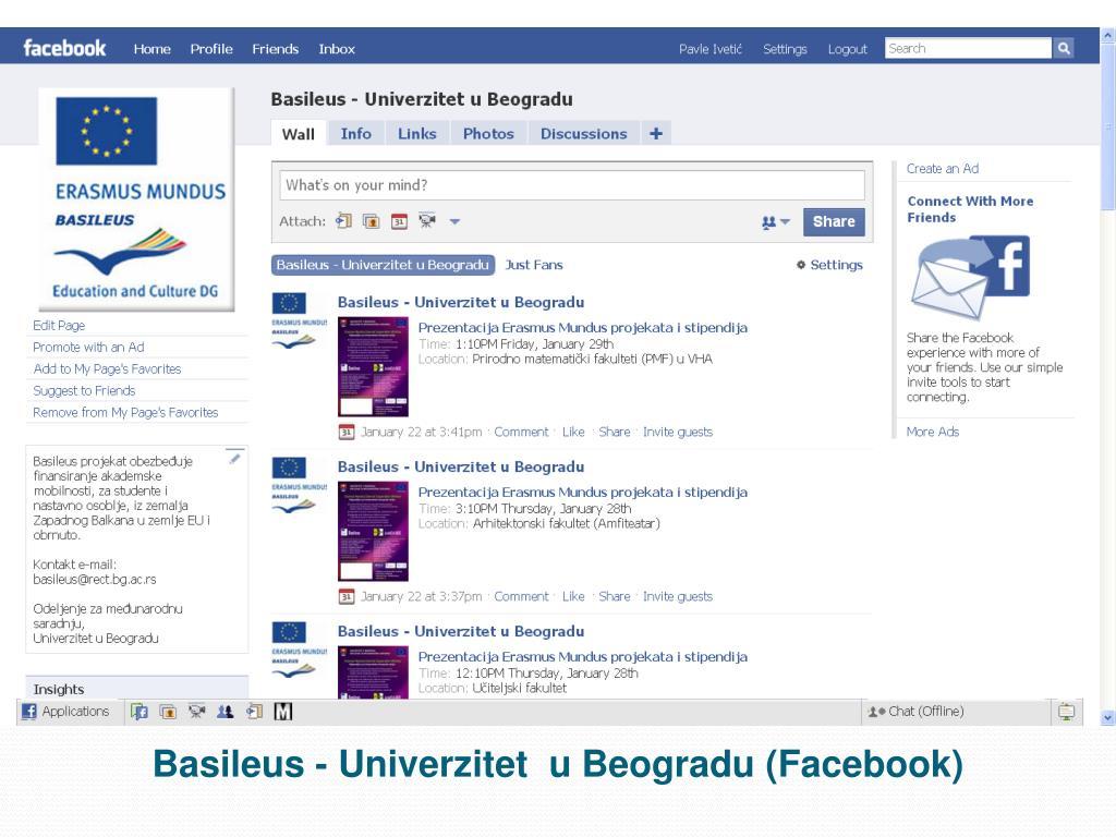 Basileus - Univerzitet  u Beogradu (Facebook)