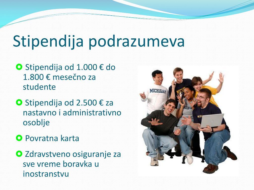 Stipendija podrazumeva
