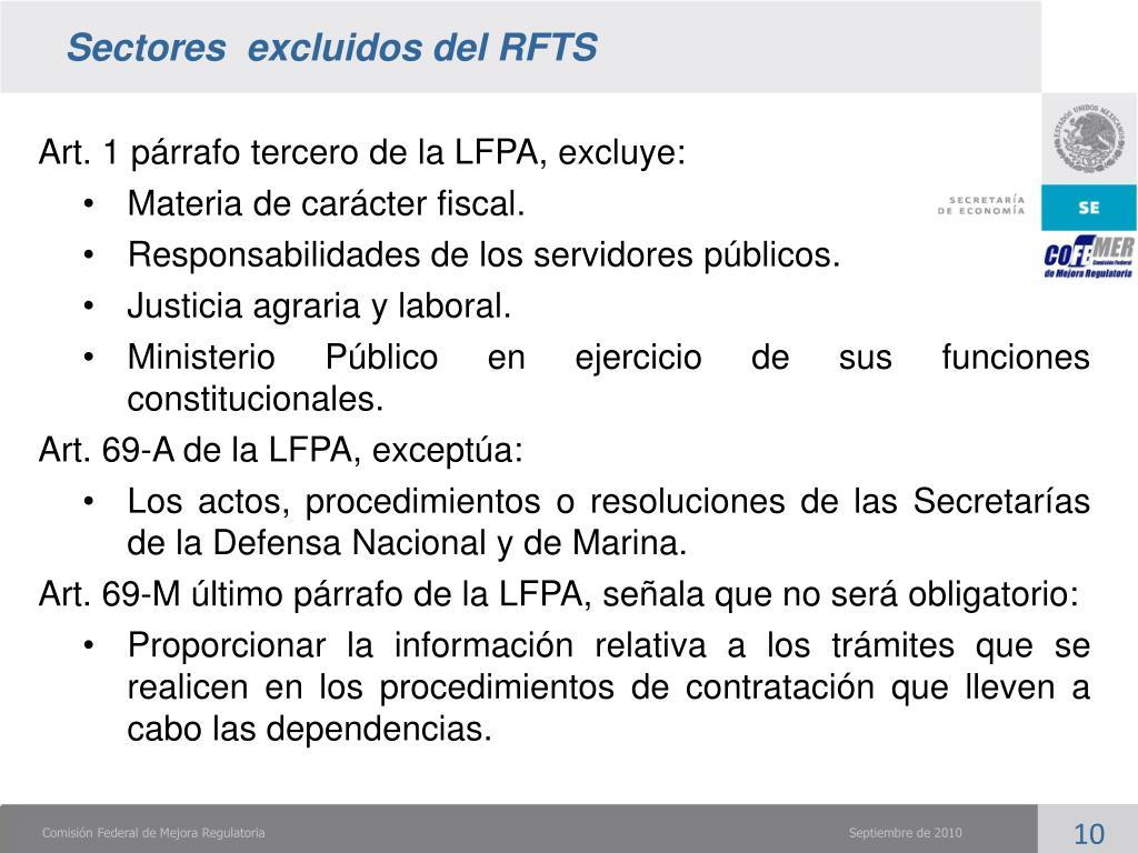 Sectores  excluidos del RFTS