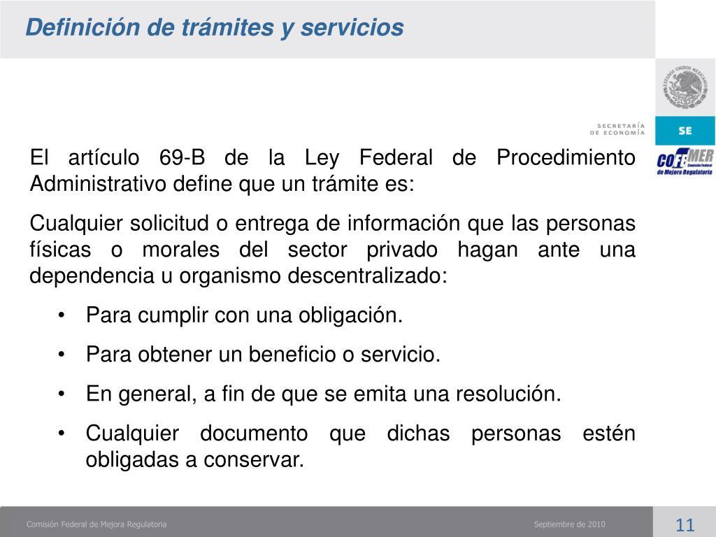 Definición de trámites y servicios