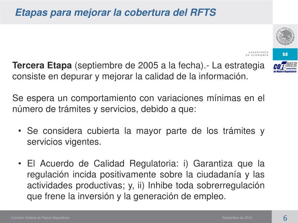 Etapas para mejorar la cobertura del RFTS
