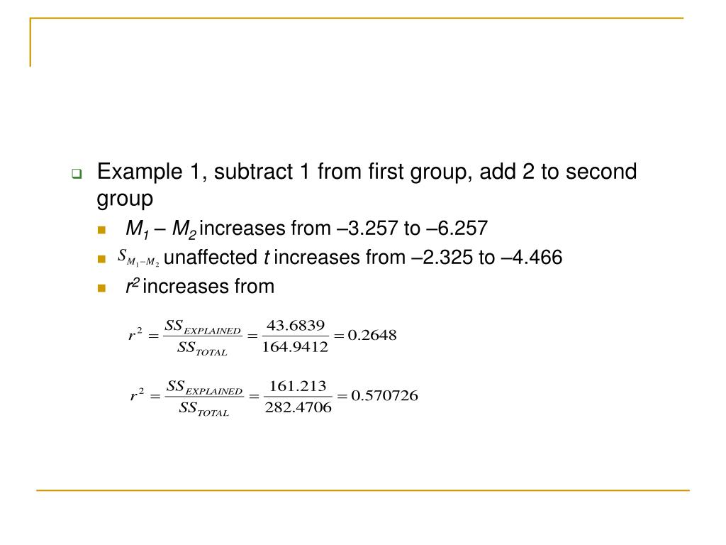 Example 1, subtract 1 from first group, add 2 to second group
