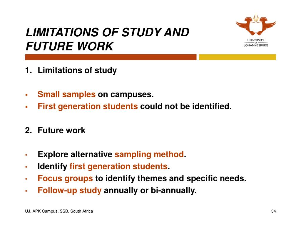 LIMITATIONS OF STUDY AND FUTURE WORK