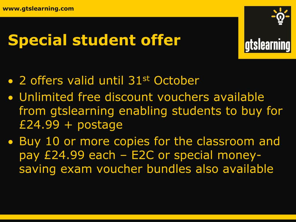 Special student offer
