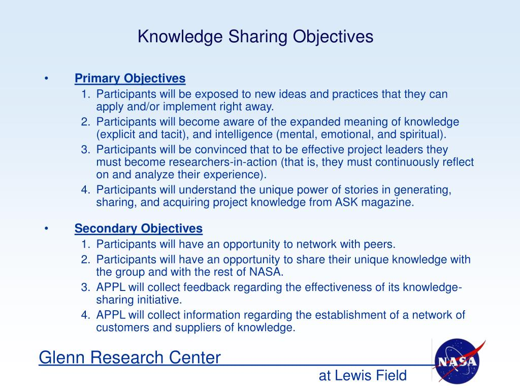 Knowledge Sharing Objectives