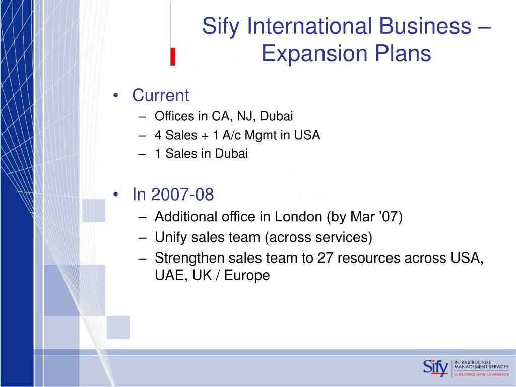 Sify International Business – Expansion Plans