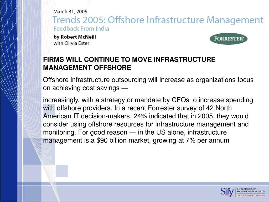 FIRMS WILL CONTINUE TO MOVE INFRASTRUCTURE MANAGEMENT OFFSHORE