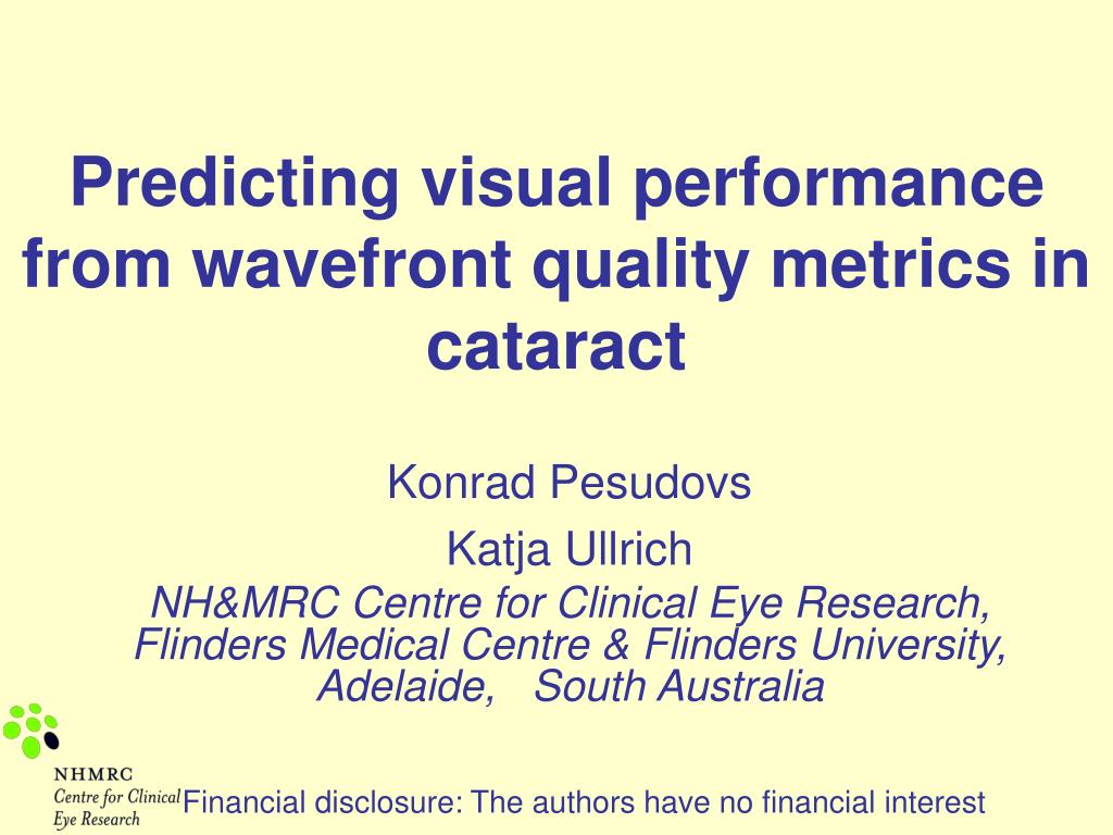 Predicting visual performance from wavefront quality metrics in cataract