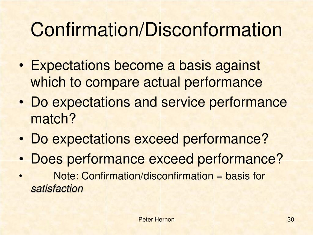 Confirmation/Disconformation