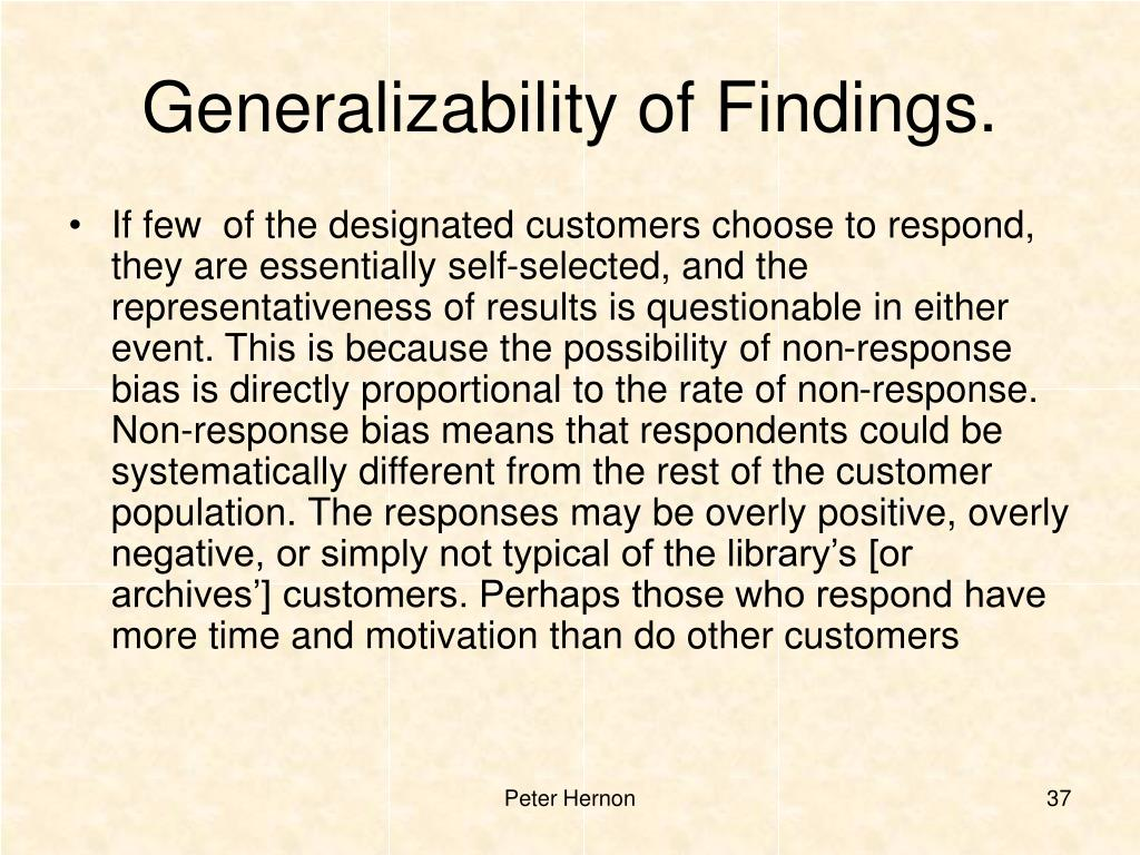 Generalizability of Findings.