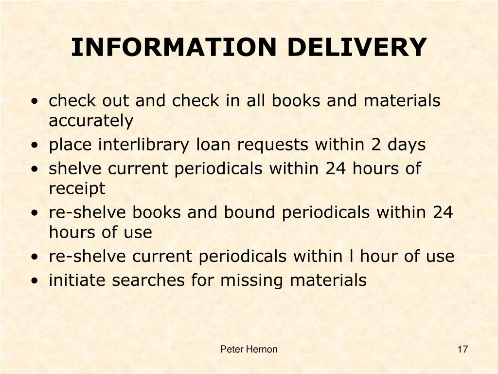 INFORMATION DELIVERY
