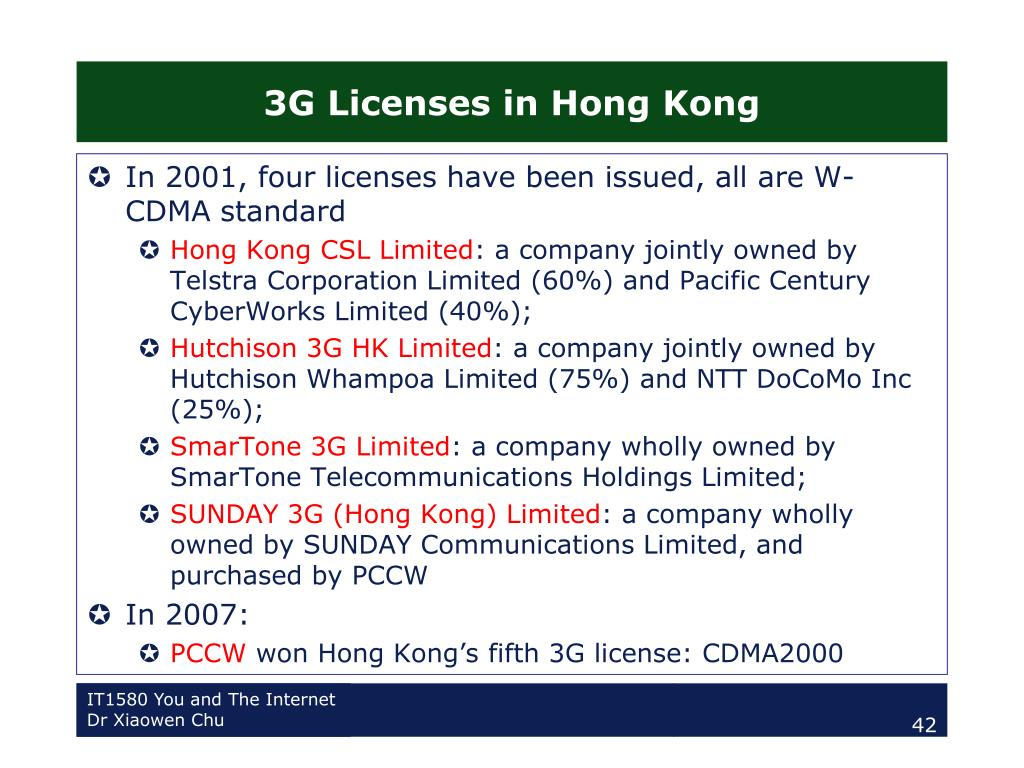 3G Licenses in Hong Kong