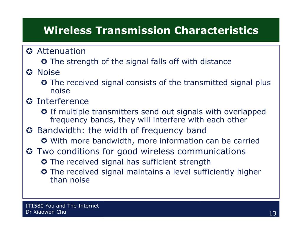 Wireless Transmission Characteristics
