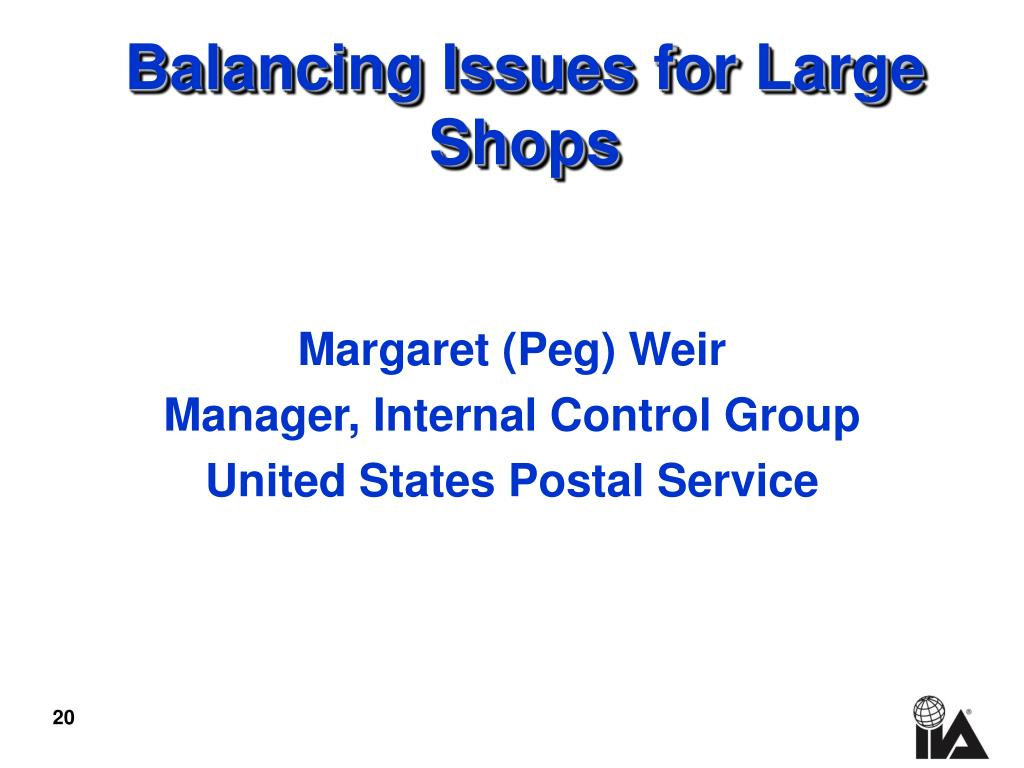 Balancing Issues for Large  Shops
