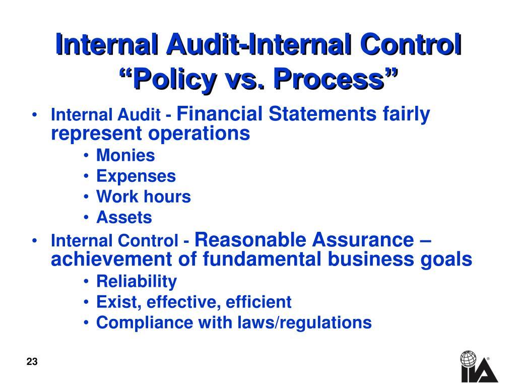 Internal Audit-Internal Control