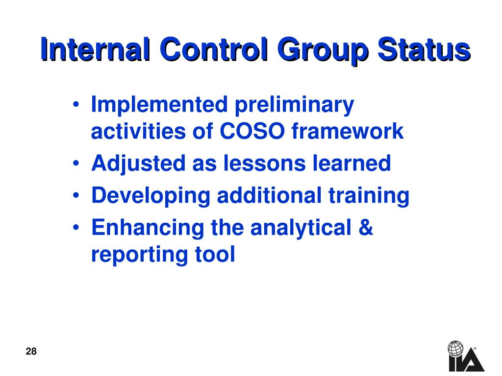 Internal Control Group Status