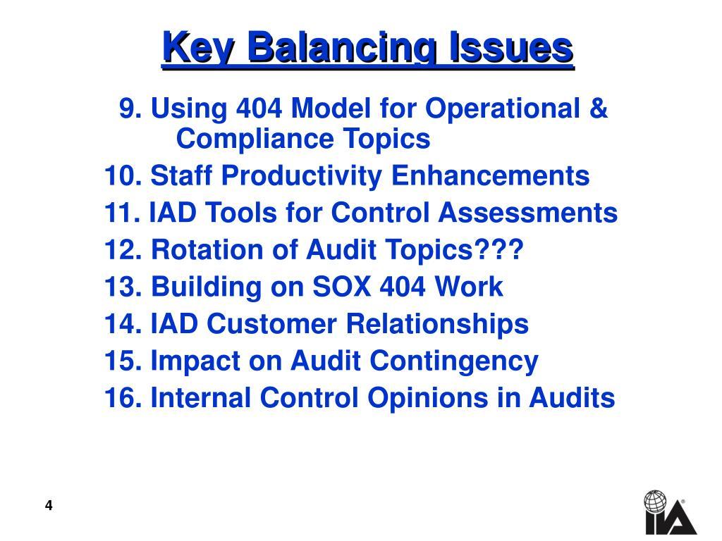 Key Balancing Issues