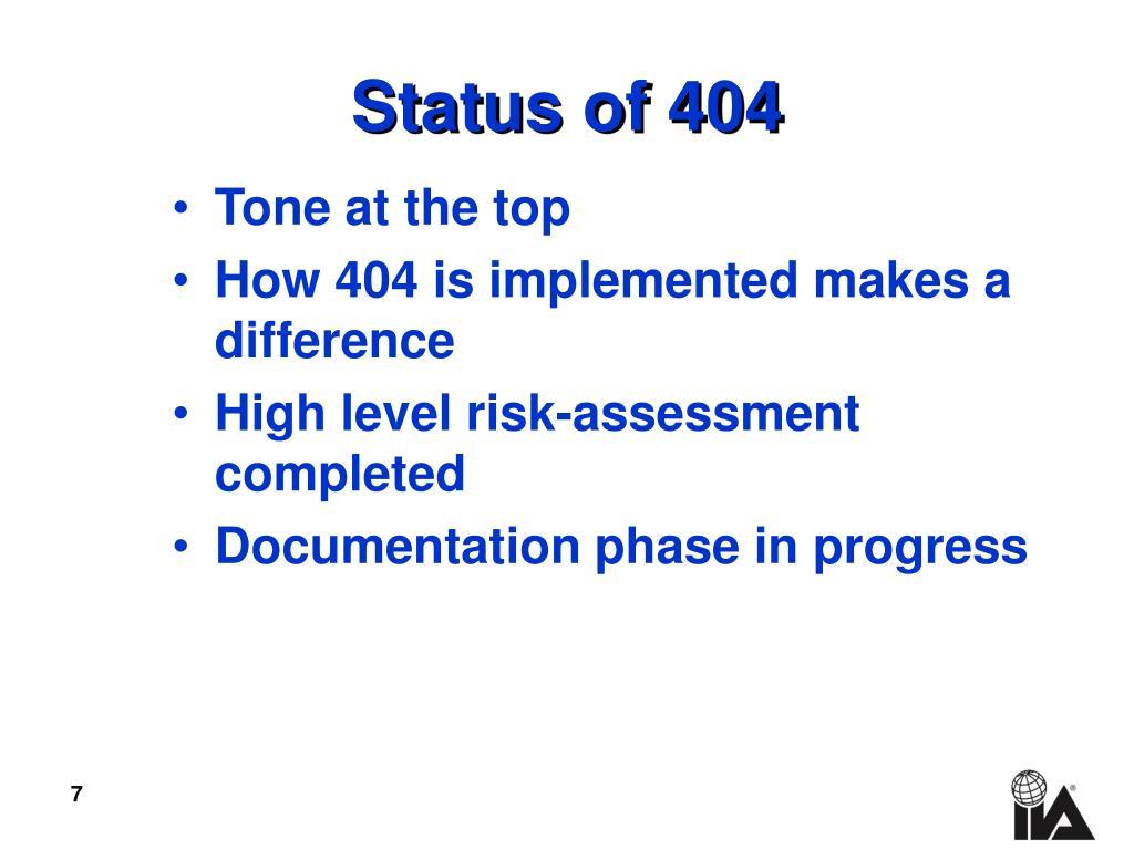 Status of 404