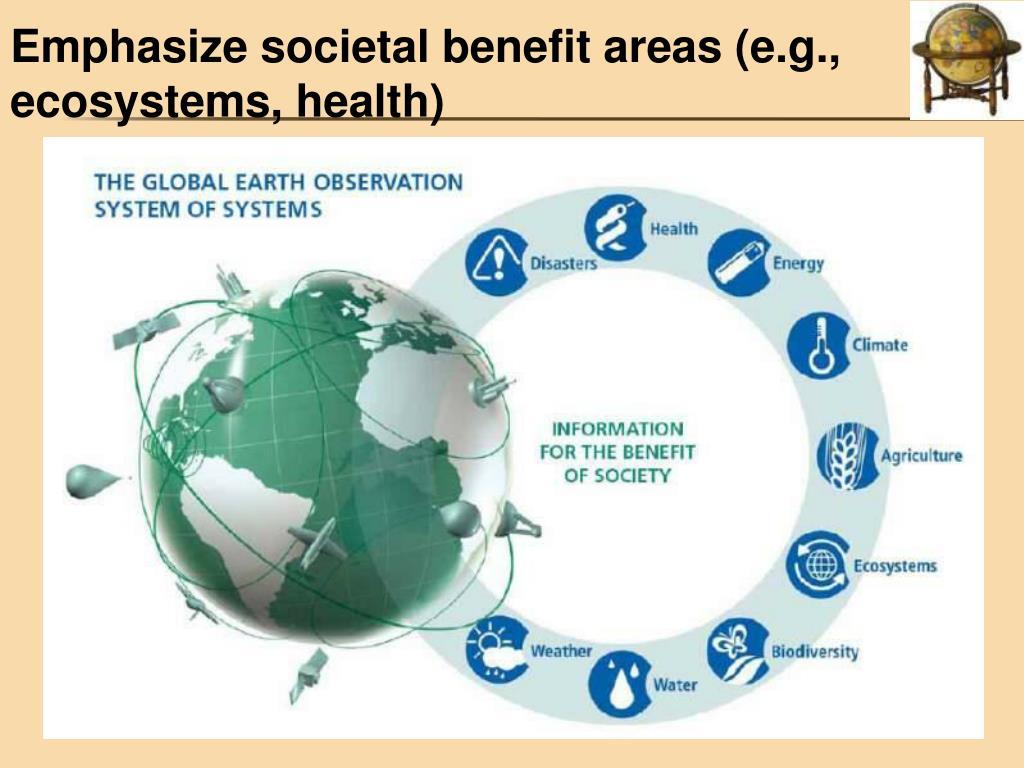 Emphasize societal benefit areas (e.g., ecosystems, health)