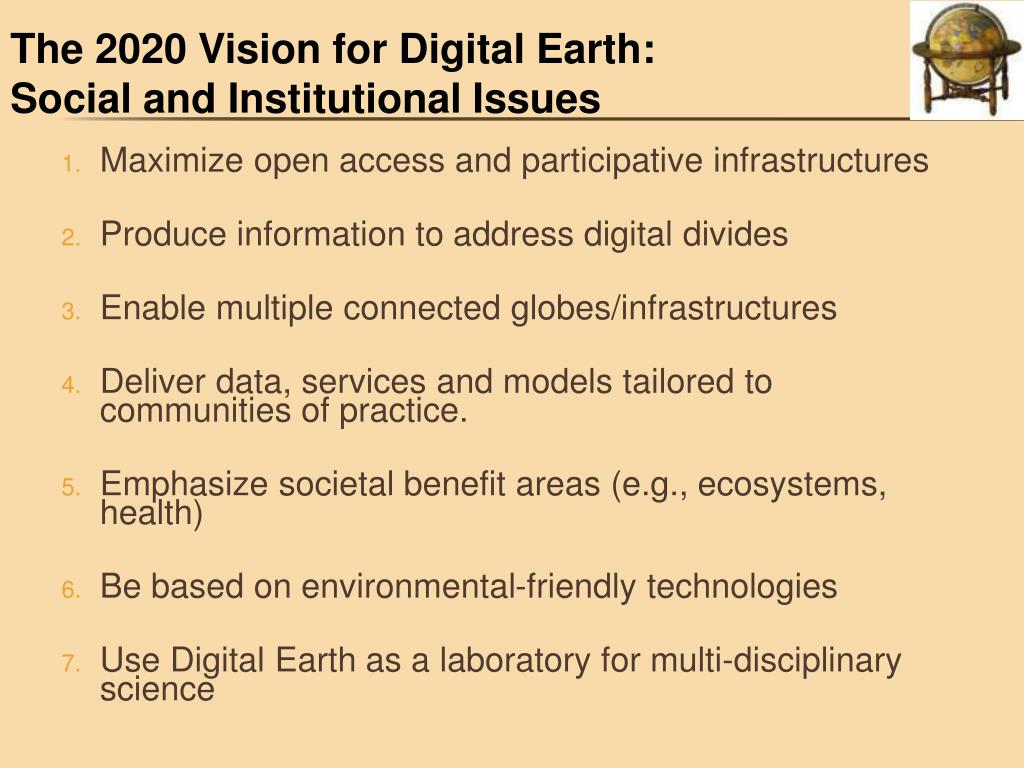 The 2020 Vision for Digital Earth: