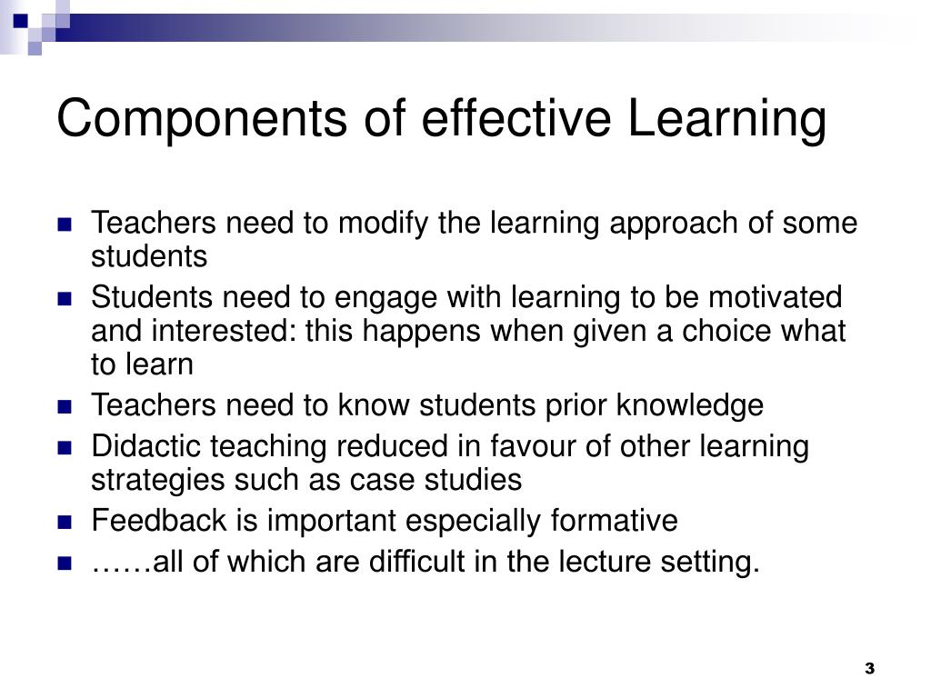 Components of effective Learning