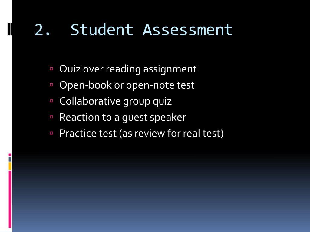 2.  Student Assessment