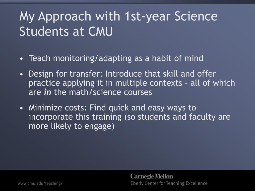 My Approach with 1st-year Science Students at CMU