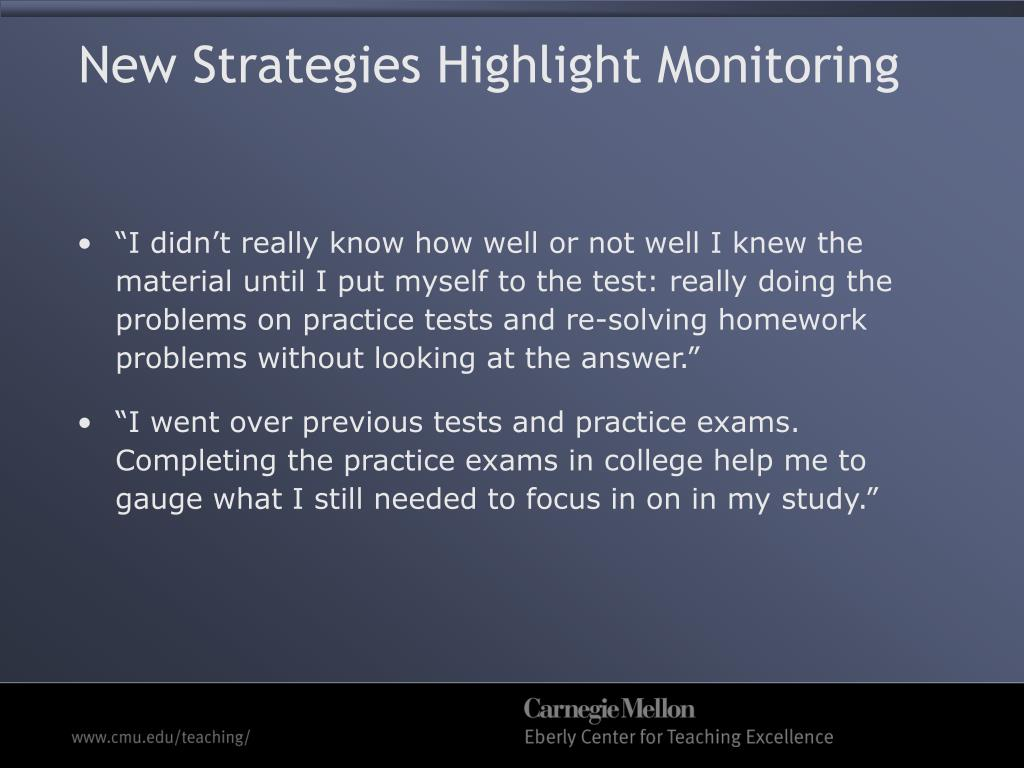 New Strategies Highlight Monitoring