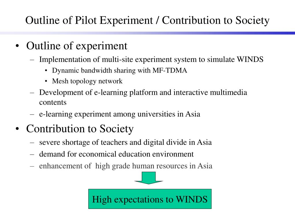 Outline of Pilot Experiment / Contribution to Society