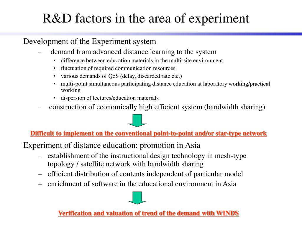 R&D factors in the area of experiment