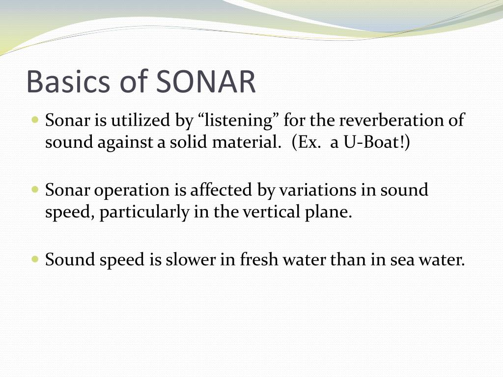 Basics of SONAR