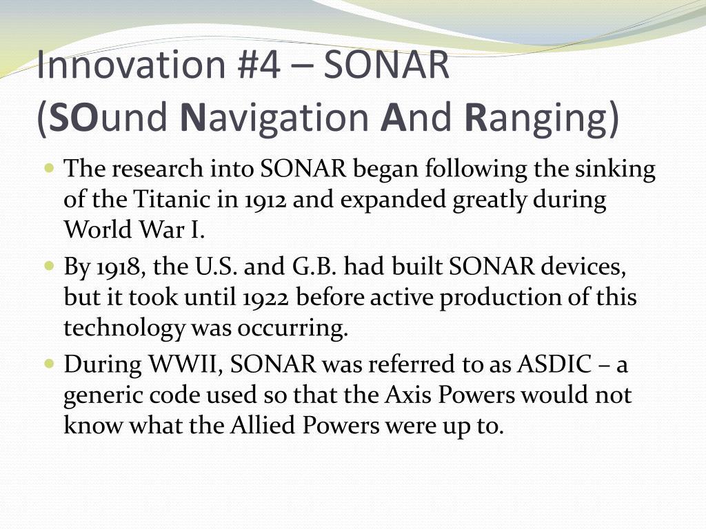 Innovation #4 – SONAR