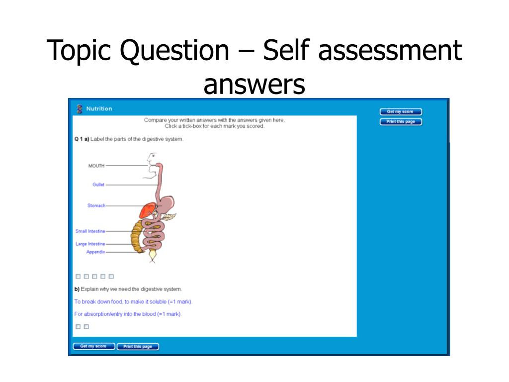 Topic Question – Self assessment answers
