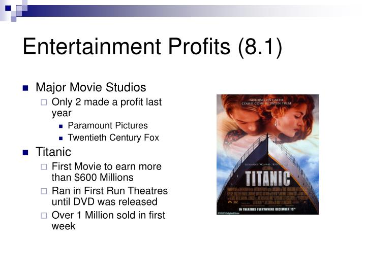 Entertainment profits 8 1
