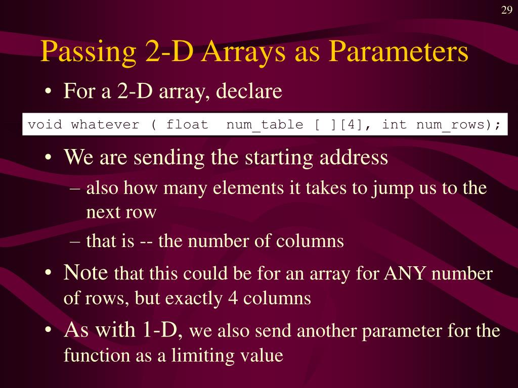 Passing 2-D Arrays as Parameters