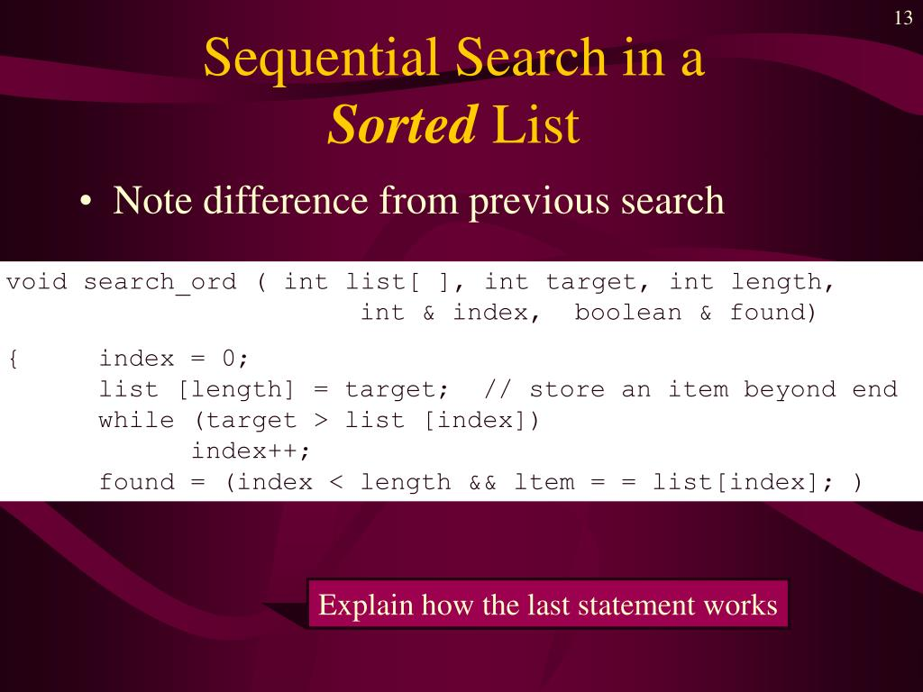 Sequential Search in a