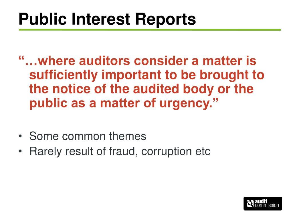 Public Interest Reports
