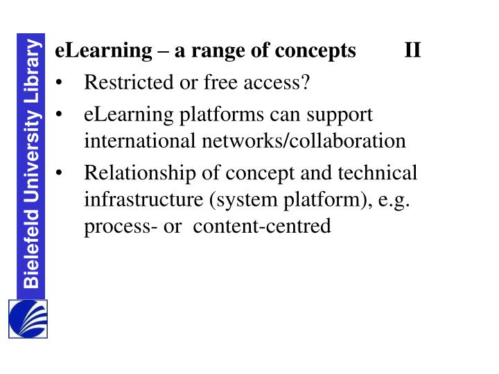 eLearning – a range of concepts	II