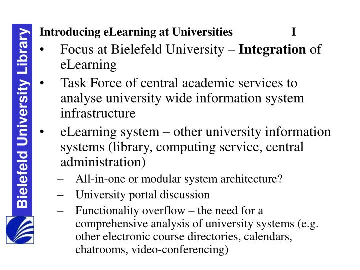 Introducing eLearning at Universities		I